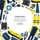 Vector underwater diving equipment illustration. With round empty space for text Stock Photography