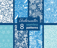 Vector Underwater Life Eight Set Seamless Pattern Royalty Free Stock Photography