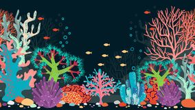 Vector underwater scene. Ocean and coral, reef and water, fish and nature, animal and bubble Stock Photo