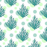 Vector underwater seaweed pattern. Seamless background with tropical corals and dots Stock Photos
