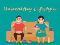 Vector unhealthy lifestyle, human laziness, obese. Vector illustration concept unhealthy lifestyle, human laziness. Cartoon fatty husband and wife sitting on Royalty Free Stock Photo