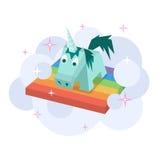 Vector unicorn flat image. Isometric element for children design. Cute turquoise isometry funny unicorn. Fairy magic  vector object, cartoon design Royalty Free Stock Image