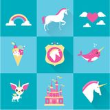 Vector unicorn icons Royalty Free Stock Photos