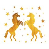 Vector Unicorns, Golden Painting Isoalted on White Background with Stars. royalty free illustration