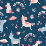 Vector unicorns and rainbows seamless repeat pattern background. royalty free illustration