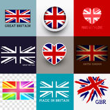 Vector Union Jack Flag Collection. Vector Union Jack Collection. Set of various British flags and UK symbols, vector illustration Royalty Free Stock Photography