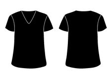 Vector unisex V neckline t-shirt template. Front back sides mock up. Black isolated on white. Vector male s V t-shirt template. Front back sides mock up. Black Royalty Free Stock Photos