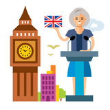 Vector United Kingdom policy. Woman politician. Flat style colorful Cartoon illustration. Stock Image