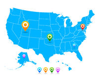 Vector United States USA map with pointers Royalty Free Stock Photography