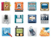Vector universal square icons. Part 3 (white) Royalty Free Stock Photo