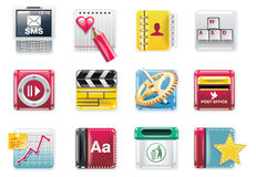 Vector universal square icons. Part 4 (white) stock illustration