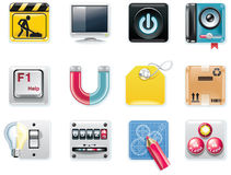 Vector universal square icons. Part 5 (white backg stock illustration
