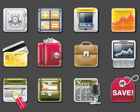 Vector universal square icons. Part 6. Banking Stock Image