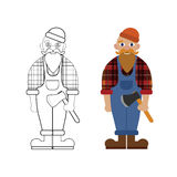 Vector unpainted and colored lumberjack. Game, coloring book page for children Stock Images
