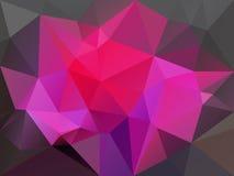 Vector unregelmäßigen Polygonhintergrund mit einem Dreieckmuster in den Pinks und in der dunkelgrauen Farbe Lizenzfreie Stockfotografie