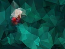 Vector unregelmäßigen Polygonhintergrund mit einem Dreieckmuster in der dunkelgrünen und roten Spektrumfarbe Lizenzfreies Stockfoto