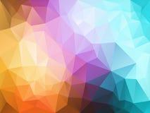 Vector unregelmäßigen Polygonhintergrund mit einem Dreieckmuster in der hellen vollen Spektrumpastellfarbe Lizenzfreies Stockfoto