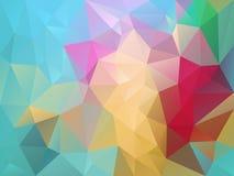 Vector unregelmäßigen Polygonhintergrund mit einem Dreieckmuster in der multi Spektrumpastellfarbe Lizenzfreies Stockfoto