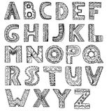 Vector unusual alphabet doodle style letters on a white backgrou Stock Photos