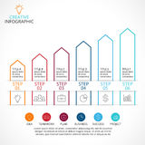 Vector up arrows linear infographic, diagram stairs chart, graph presentation.  Stock Photos