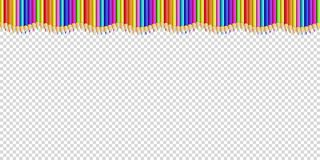 Vector up line wavy border made of colored wooden pencils row isolated on transparent background. Back to school framework bordering template concept or photo royalty free illustration