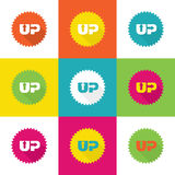 Vector up message on sticker.  Royalty Free Stock Image