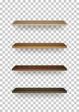 Vector uploads are temporarily disabled. We apologize for the inconvenience. Wooden shelf on transparent background with soft shadow. 3D empty wooden shelves stock illustration