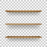 Vector uploads are temporarily disabled. We apologize for the inconvenience. Wooden shelf on transparent background with soft shadow. 3D empty wooden shelves royalty free illustration