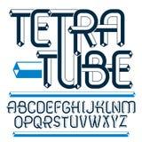 Vector upper case modern alphabet letters, abc set. Artistic reg. Ular font, typescript for use in logo creation. Made using cube tetra tube design Stock Photography
