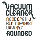 Vector upper case modern alphabet letters, abc set. Funky rounde. D font, typescript for use in logo creation. Made with industrial hose, 3d cylinder tube design Stock Photos