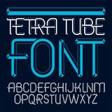 Vector upper case modern alphabet letters set. Artistic font, ty. Pescript for use in logo creation. Made using cube tetra tube design Royalty Free Stock Photos