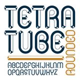 Vector upper case modern alphabet letters set. Artistic rounded. Font, typescript for use in logo creation. Made using tetrahedral tetra tube design Stock Photography