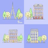Vector urban banner with buildings, trees and Eiffel Tower for p Royalty Free Stock Photography