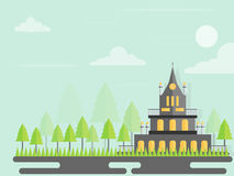 Vector urban landscape with building and  tree  soaring in the sky. Royalty Free Stock Photos
