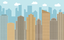 Vector urban landscape illustration. Street view with cityscape, skyscrapers and modern buildings Royalty Free Stock Photos