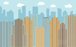 Vector urban landscape illustration. Street view with cityscape, skyscrapers and modern buildings Royalty Free Stock Images