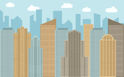 Vector urban landscape illustration. Street view with cityscape, skyscrapers and modern buildings Stock Photography