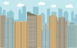 Vector urban landscape illustration. Street view with cityscape, skyscrapers and modern buildings at sunny day. Stock Photo