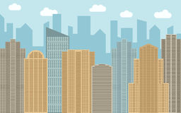 Vector urban landscape illustration. Street view with cityscape, skyscrapers and modern buildings at sunny day Royalty Free Stock Photos