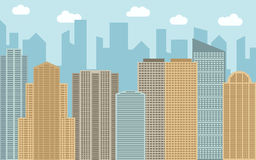 Vector urban landscape illustration. Street view with cityscape, skyscrapers and modern buildings at sunny day. Stock Images