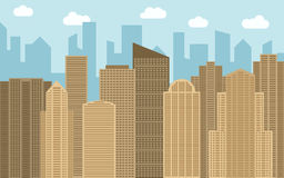 Vector urban landscape illustration. Street view with cityscape, skyscrapers and modern buildings at sunny day. Royalty Free Stock Photography