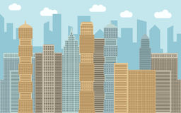 Vector urban landscape illustration. Street view with cityscape, skyscrapers and modern buildings at sunny day. Royalty Free Stock Photos