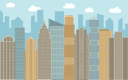 Vector urban landscape illustration. Street view with cityscape, skyscrapers and modern buildings at sunny day. Royalty Free Stock Images