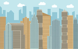 Vector urban landscape illustration. Street view with cityscape, skyscrapers and modern buildings at sunny day. Stock Photos