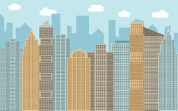Vector urban landscape illustration. Street view with cityscape, skyscrapers and modern buildings at sunny day. Stock Photography