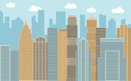 Vector urban landscape illustration. Street view with cityscape, skyscrapers and modern buildings at sunny day. Royalty Free Stock Image