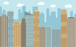 Vector urban landscape illustration. Street view with cityscape, skyscrapers and modern buildings at sunny day. Stock Image
