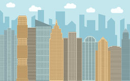 Vector urban landscape illustration. Street view with cityscape, skyscrapers and modern buildings at sunny day. Royalty Free Stock Photo