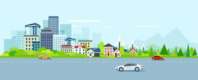 Vector of urban landscape with modern cityscape and suburbs. With wind power turbines on a background of mountains. Highway with cars vector illustration