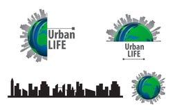 Vector urban life globe and city scape silhouette design logo Stock Photos